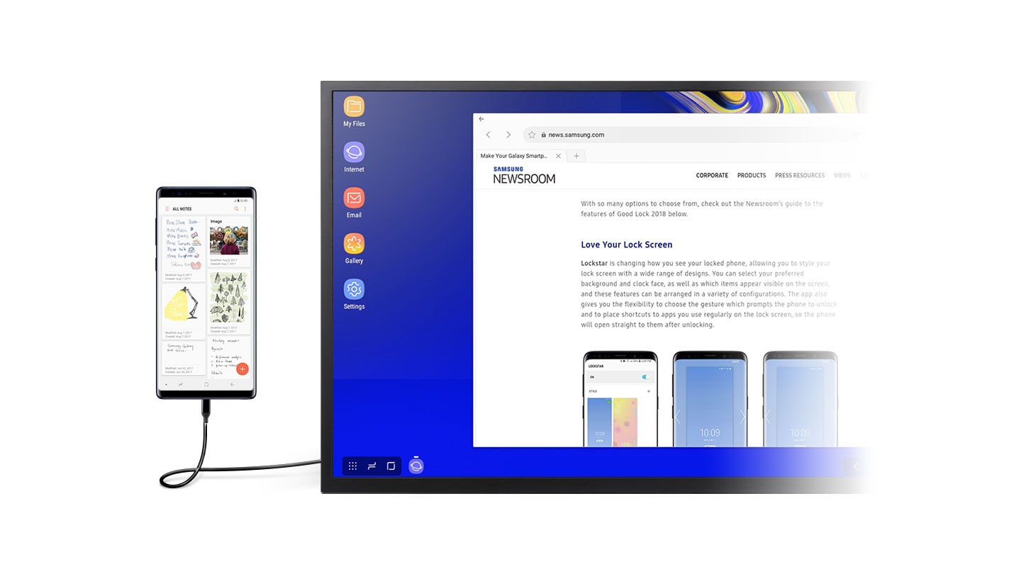 A monitor in DeX mode with the browser open onscreen. A smartphone with the Samsung Notes app onscreen is connected to the monitor using the DeX Cable.