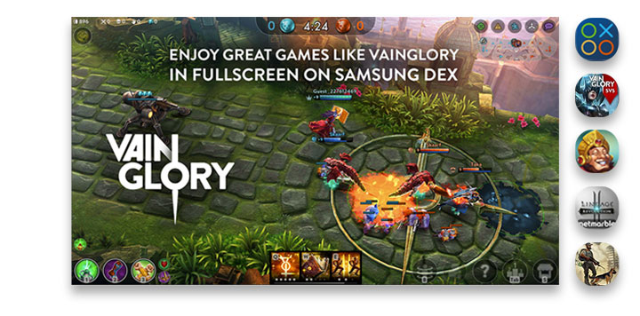 A screen of playing the Vainglory battle in full screen. Five icons show fun applications you can use in DeX mode: Game Launcher, Vainglory, The Tribez, Lineage 2: Revolution, and Last Day on Earth: Survival.