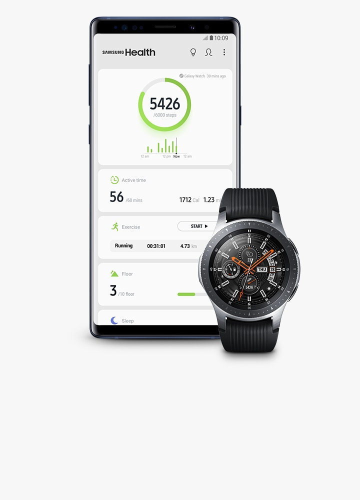 An image of Galaxy Note9 Ocean Blue (left) showing Today's progress in Samsung Health apps, with Galaxy Watch (right) synchronised to Today's progress.