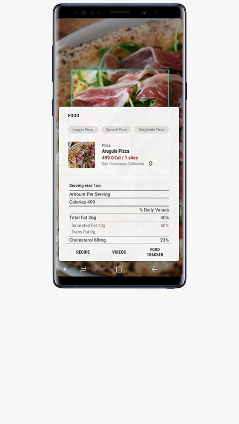 The image of Galaxy Note9 Ocean Blue with calorie count and other nutritional information of scanned food on screen.