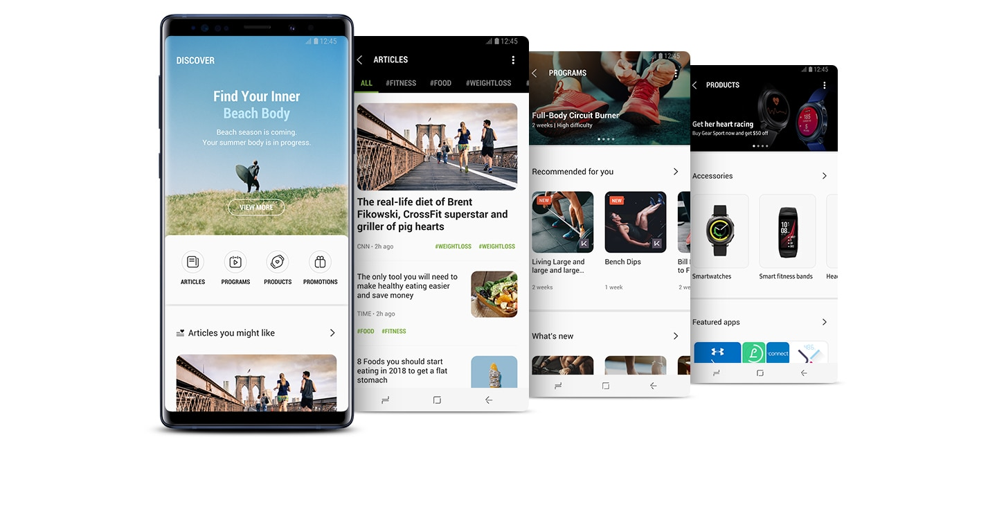 "A front view of the Galaxy Note9 Ocean Blue showing ""DISCOVER"" in the Samsung Health app and three images featuring ""ARTICLES"",""PROGRAMS"", and ""PRODUCTS"" in Samsung Health app."