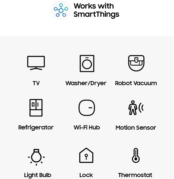 An image of the 'Works with SmartThings' logo and various icons such as those for the TV, AV, air conditioner, washer/dryer, robot vacuum, refrigerator, Wi-Fi hub, motion sensor, camera, multi-functional sensor, doorbell, light bulb, lock, outlet, switch/dimmer, and thermostat, which are available with the SmartThings app