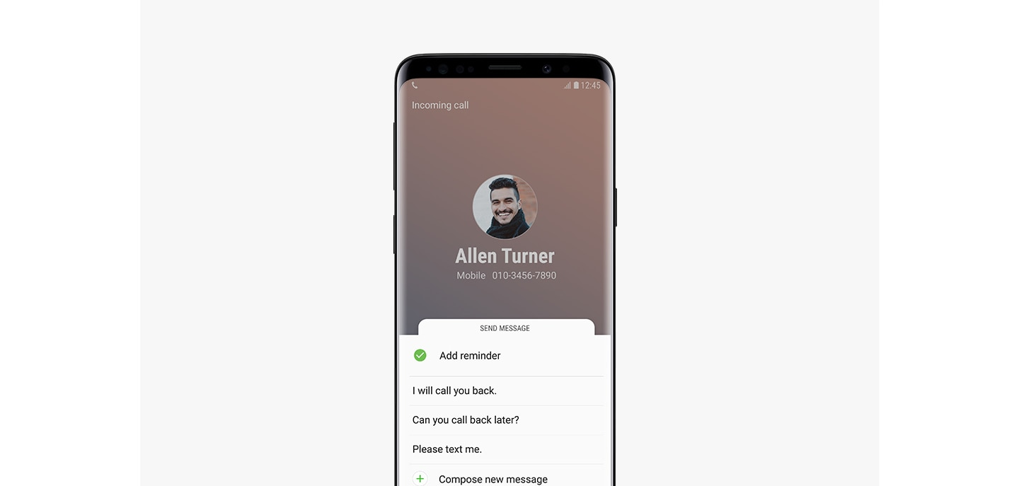 An image of making a phone call which is one of Bixby reminder's functions from Galaxy S9 Midnight Black