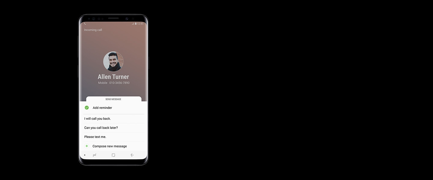 A front view of the Galaxy S9 Midnight Black saving an incoming call with Bixby Reminder.