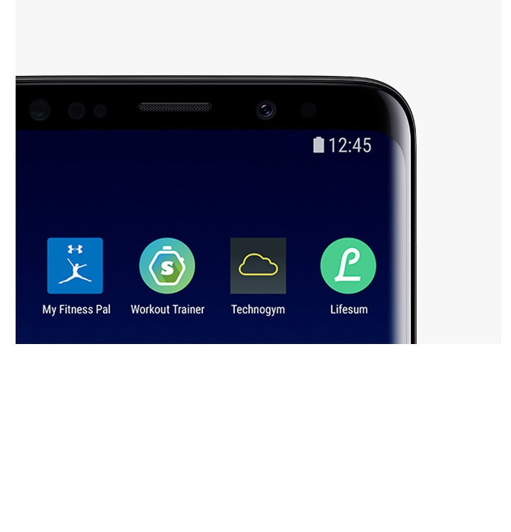 A top view of the Galaxy S9 Midnight Black with apps compatible with Samsung Health.