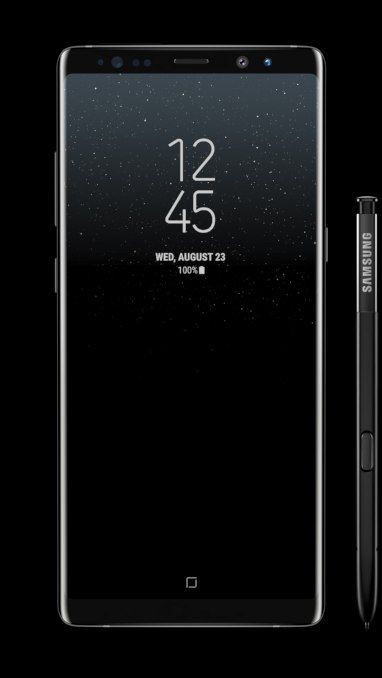Galaxy Note8 in Midnight Black dreht sich um 360 Grad