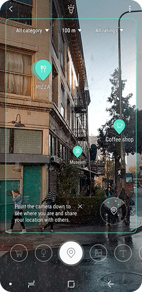 Simulated image of the Bixby Vision GUI for Place with a photo taken on Galaxy S9 or Galaxy S9+