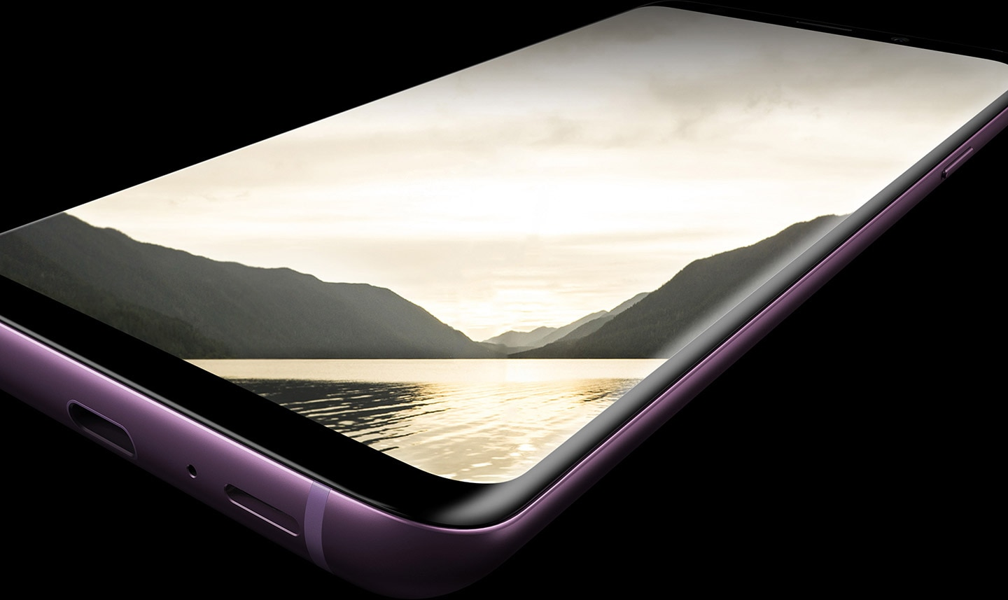 Galaxy S9+ shown at an angle that highlights the Infinity Display