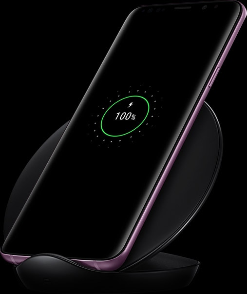 Wireless Charging Stand in black with Galaxy S9+ charging