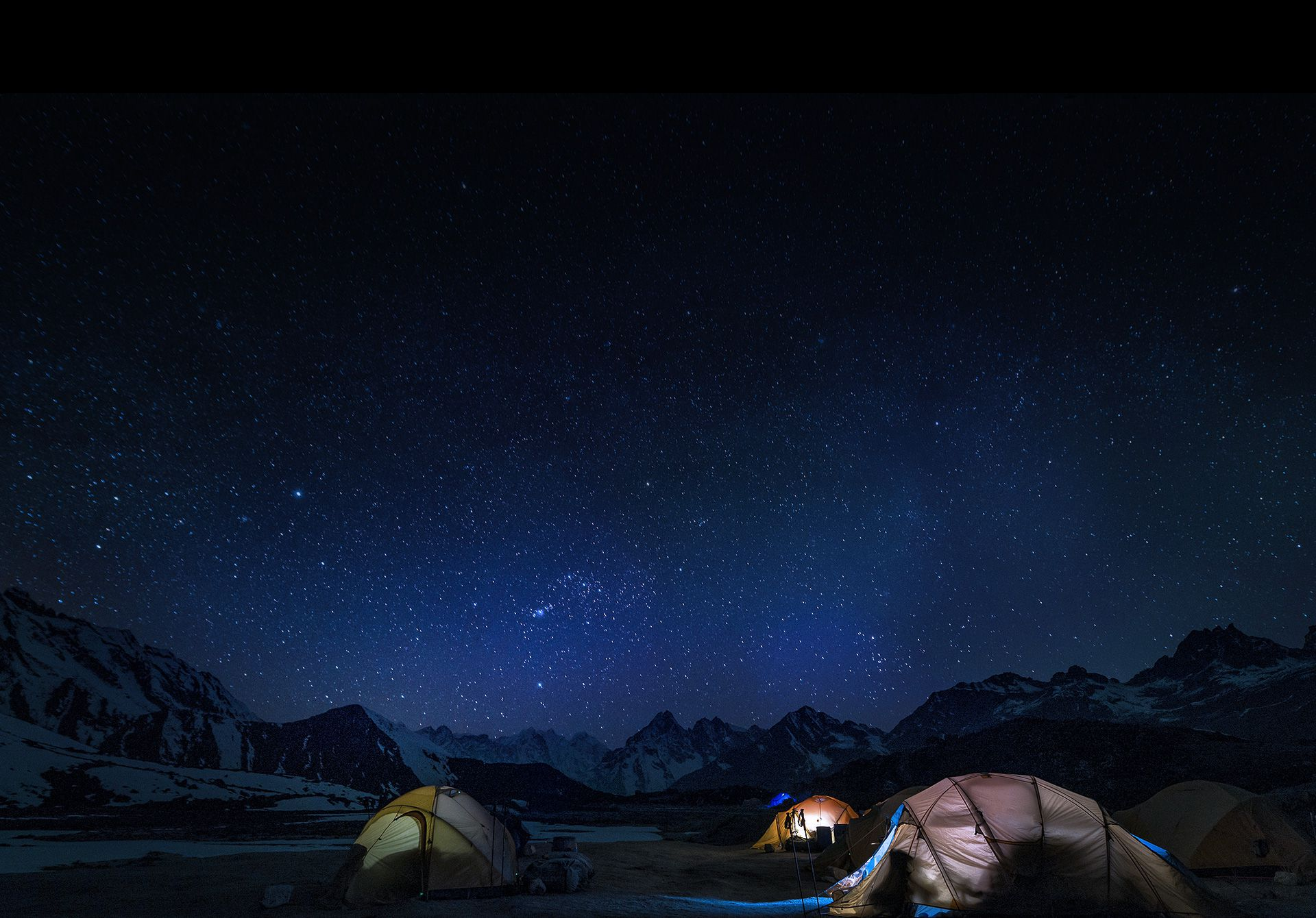 Image behind the Gear 360 (2017) of a campsite at night