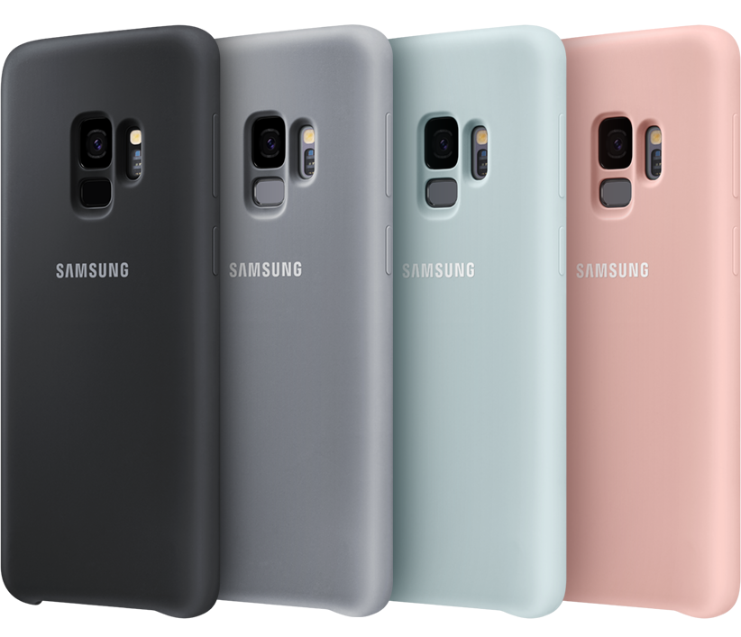 Four Galaxy S9 phones standing in each color of the Silicone cover: black, gray, blue, pink