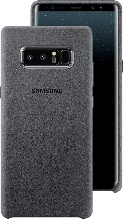 ... Front and Back view of the Galaxy Note8 in the Alcantara Cover in Dark  Gray 5849335c5