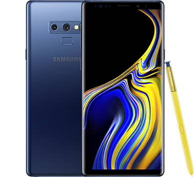Galaxy Note9 Ocean Blue front, rear and pen
