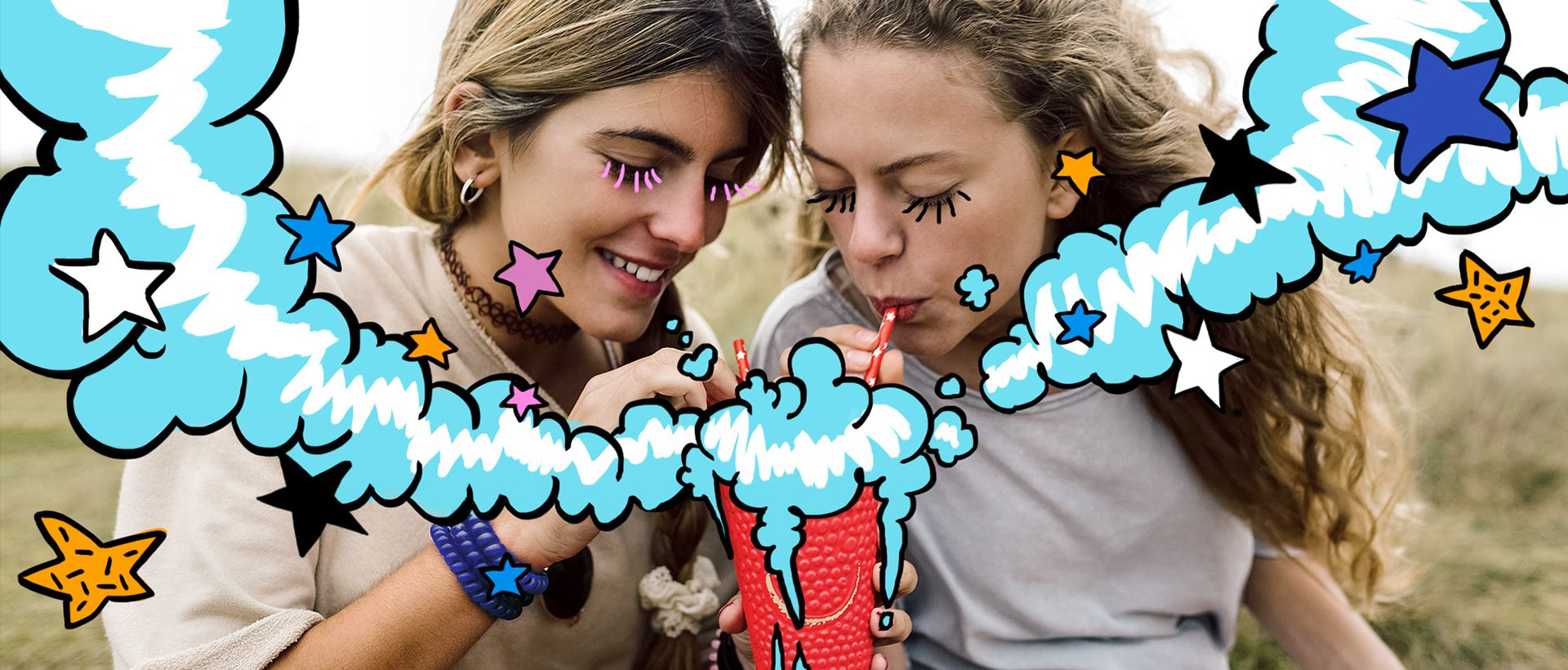 The illustration image of two girls by using samsung note app.