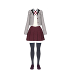 White shirt with grey cardigan and burgundy skirt outfit