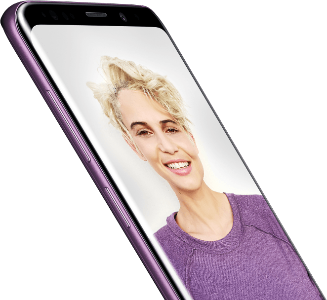Image showing Galaxy S9+ with a selfie taken by Galaxy S9 or Galaxy S9+ on-screen as well as AR Emojis in bubbles