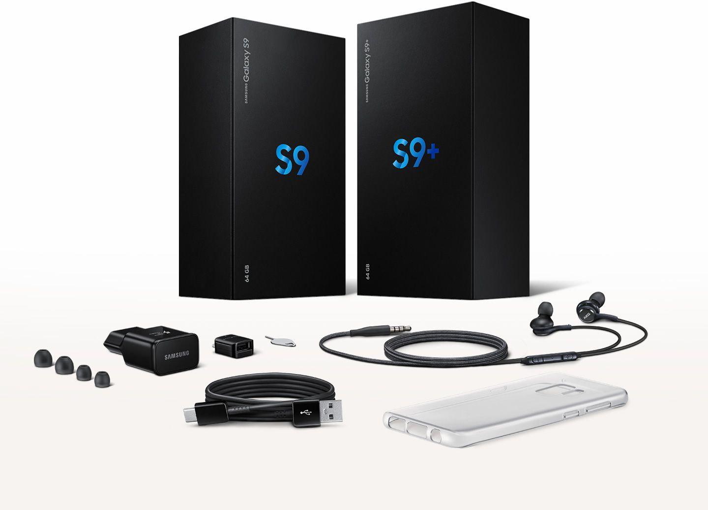Image of Galaxy S9 and Galaxy S9+ boxes with included accessories