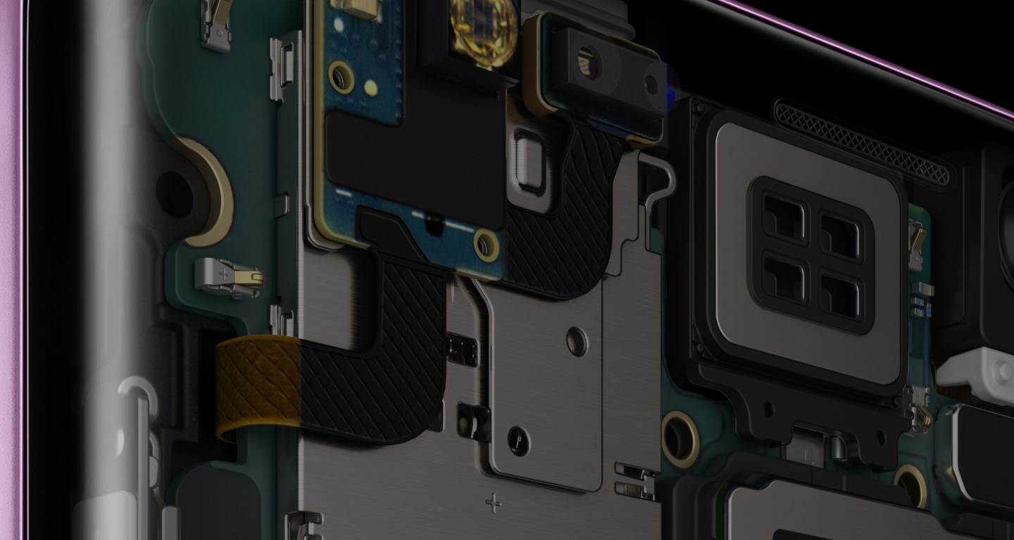 Image showing extreme close-up of the hardware inside Galaxy S9+