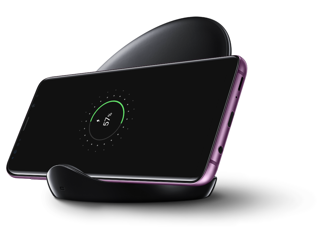 Black: Galaxy S9+ on Wireless Charger Stand in black