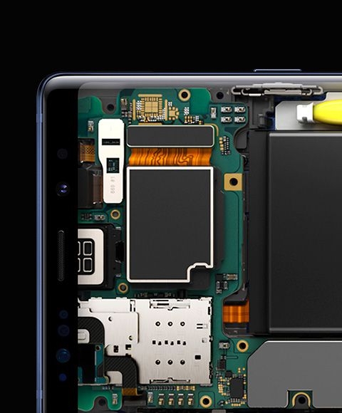 Simulated closeup image of Galaxy Note9's hardware