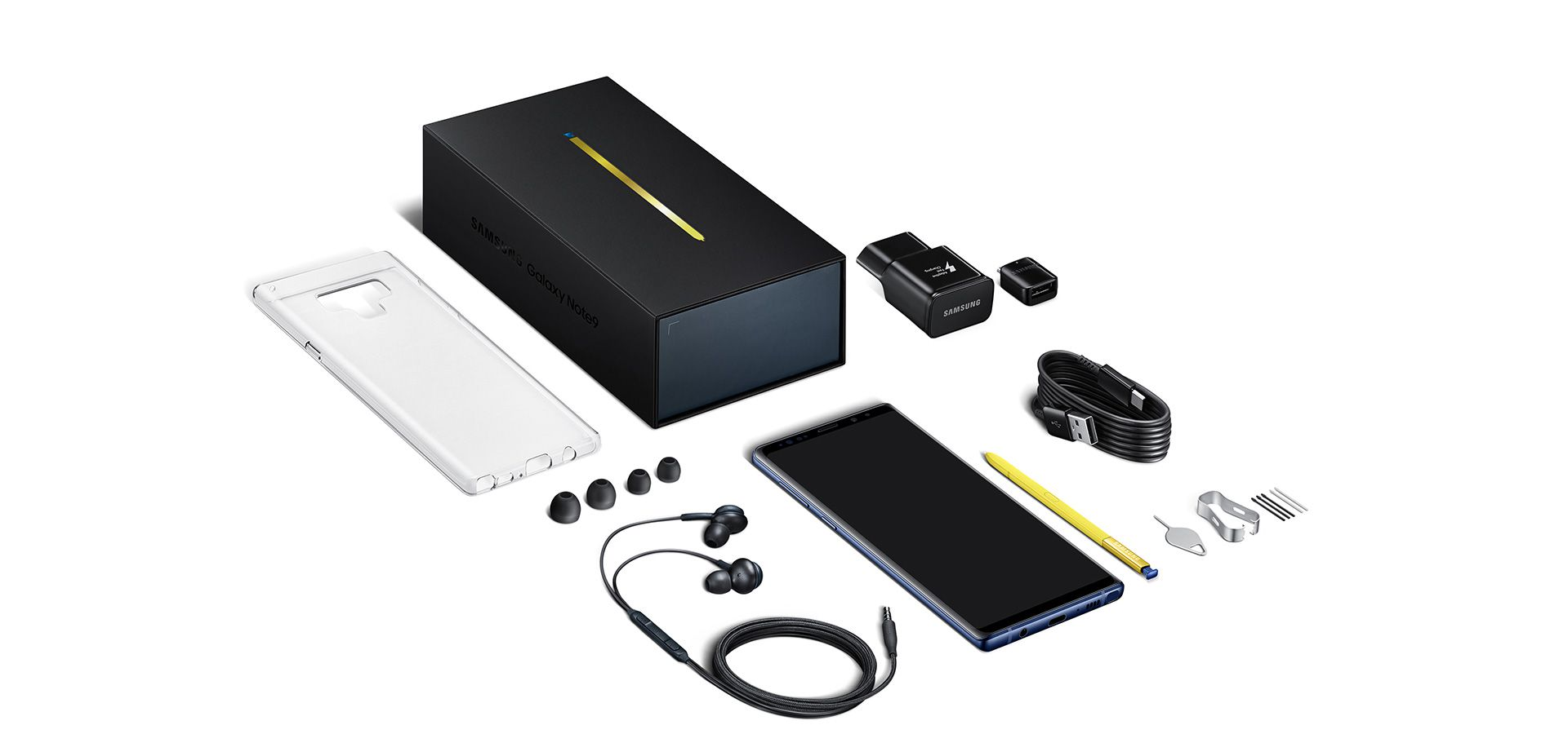 Image of in-box items: Device with S Pen, Tweezer and pen nibs, USB power adapter, Micro USB connector, USB connector (USB Type-C), USB cable, Ejection pin, Earphones, Case, Clear Cover. Included items may vary by country.